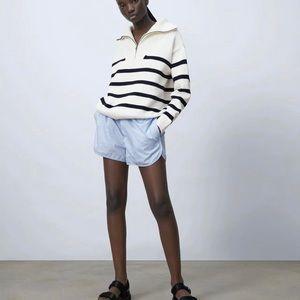 Zara ecru knit striped sweater with zip SZ S